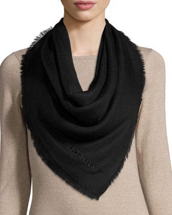 Embroidered Lightweight Cashmere Scarf, Black