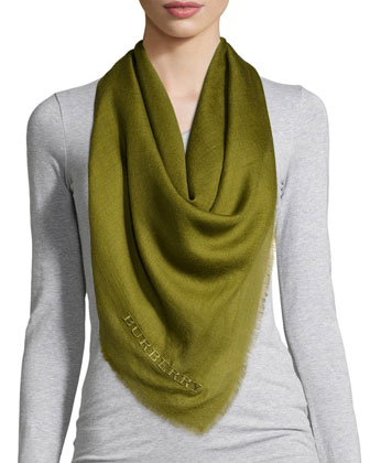 Embroidered Lightweight Cashmere Scarf, Lime Chartreuse