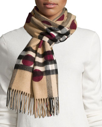 Giant Check & Polka Dot Cashmere Scarf, Tan/Plum