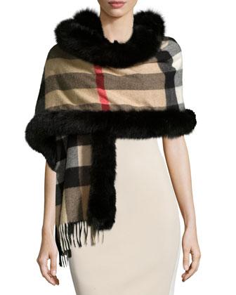 Fox-Fur-Trim Cashmere Mega-Check Scarf, Camel/Black