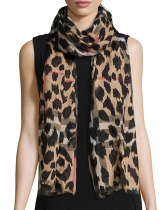 Giant Check Animal-Print Gauze Scarf, Camel/Black