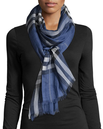 Gauze Giant Check Scarf, Thistle Blue