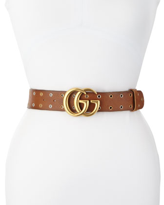 Grommet-Trim Leather Belt, Brown