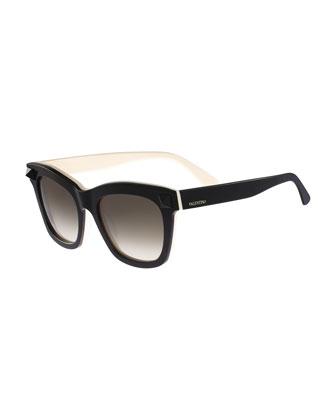 Square Tonal Stud Sunglasses