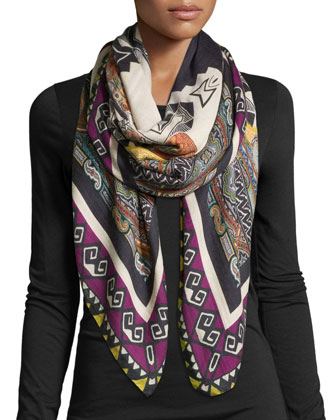 Knit Multipattern Wool-Blend Square Scarf, Magenta