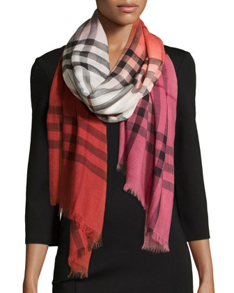 Ombre Check Scarf, Military Red