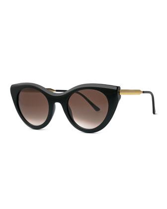 Perky Cat-Eye Sunglasses, Black