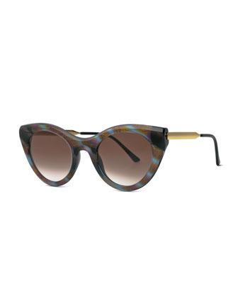 Streaked Perky Cat-Eye Sunglasses, Purple/Blue