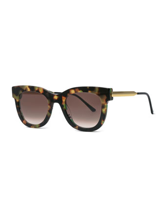 Rounded Square Leopard Sunglasses, Brown