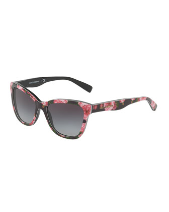 Junior Square Floral-Print Sunglasses, Black/Rose