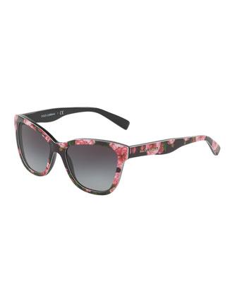 Junior Square Floral-Print Sunglasses, Black/Rose