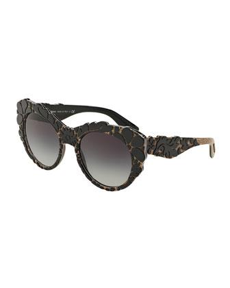 3-D Floral Cat-Eye Sunglasses