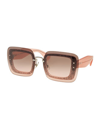 Glittered Square Sunglasses w/ Overlay Lenses