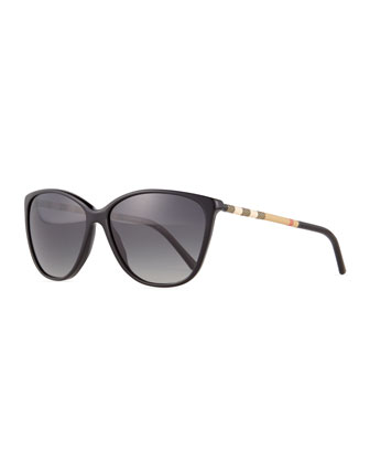 Polarized Check Square Sunglasses, Black