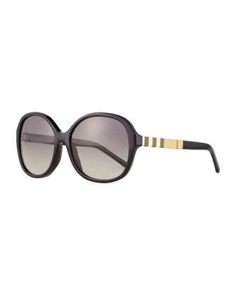 Rounded-Square Check-Trim Sunglasses, Black