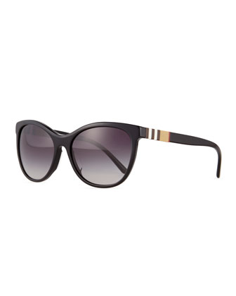 Check-Trim Cat-Eye Polarized Sunglasses