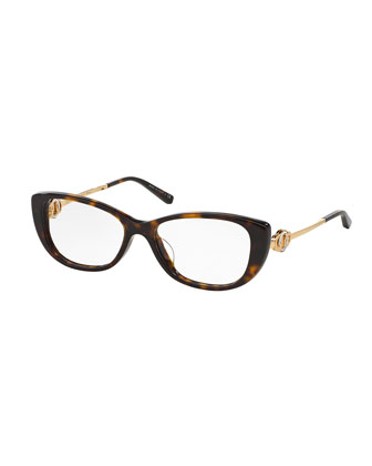 Acetate & Metal Cat-Eye Optical Frames, Havana