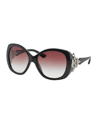 Rhinestone-Trim Acetate Butterfly Sunglasses