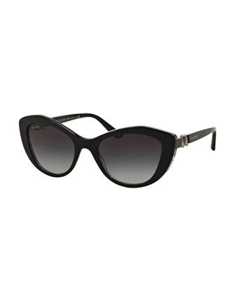 Rhinestone-Trim Gradient Cat-Eye Sunglasses