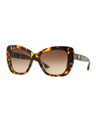 Gradient Oversize Cat-Eye Sunglasses, Havana