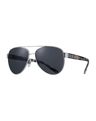 Metal Check-Trim Aviator Sunglasses, Matte Black