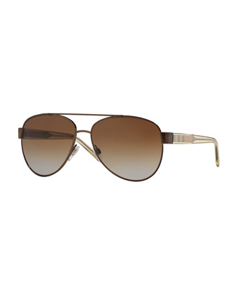 Polarized Check-Trim Aviator Sunglasses
