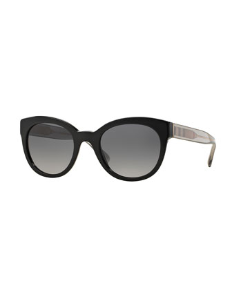 Polarized Check-Trim Sunglasses, Black