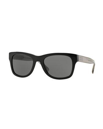 Square Check-Trim Colorblock Sunglasses