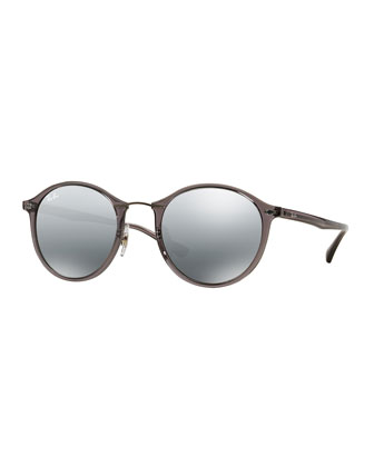 Round Mirrored Metal-Bridge Sunglasses, Gray