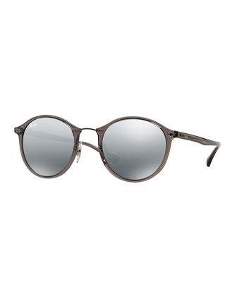 Round Mirrored Metal-Bridge Sunglasses, Gray