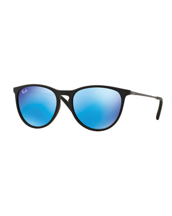 Junior Mirrored Iridescent Sunglasses, Matte Black