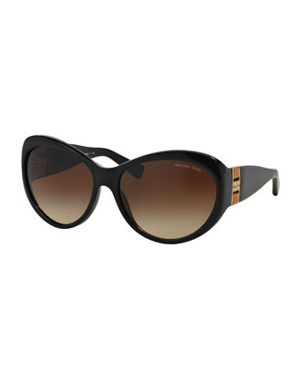 Acetate Butterfly Sunglasses, Black