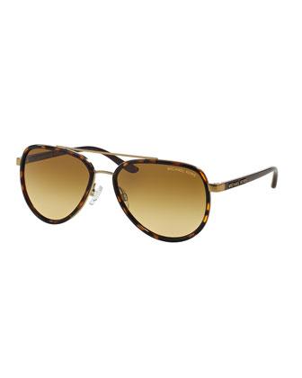 Metal-Rimmed Plastic Aviator Sunglasses, Tortoise