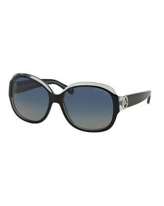Polarized Butterfly Sunglasses, Black/Blue