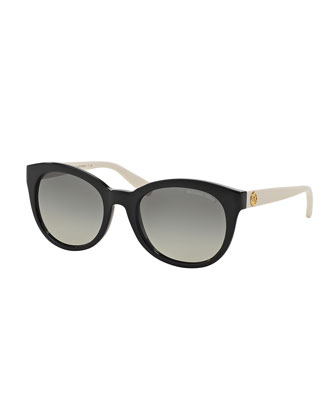 Rounded Cat-Eye Colorblock Sunglasses