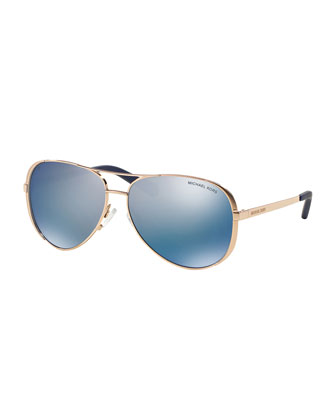 Polarized Aviator Sunglasses, Blue/Gold