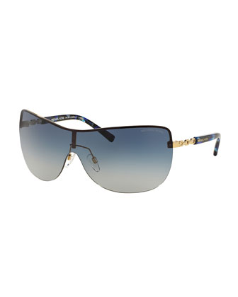 Gradient Chain-Link Shield Sunglasses