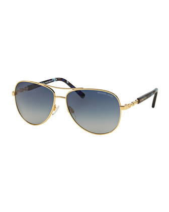 Gradient Chain-Link Aviator Sunglasses