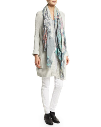 Pixy Open-Front Cashmere Cardigan, Beige
