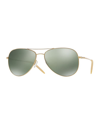 Kannon Polarized Aviator Sunglasses, Gold