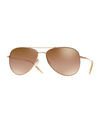 Kannon Mirrored Aviator Sunglasses, Rose Gold