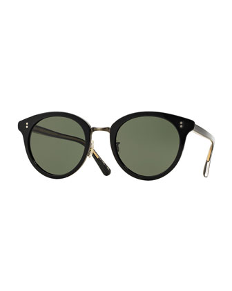 Spelman Square Sunglasses, Black/Pewter