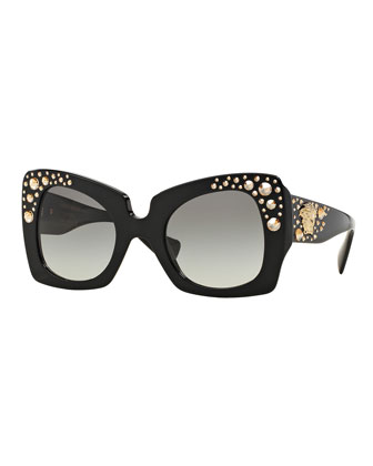 Square Studded-Temple Sunglasses, Black/Gold