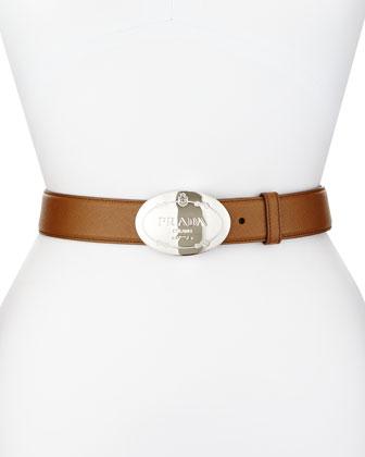 Saffiano Oval Logo Belt