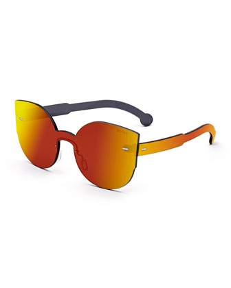 Tuttolente Lucia Cat-Eye Iridescent Sunglasses, Red