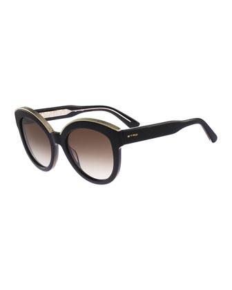 Metallic-Trim Cat-Eye Sunglasses