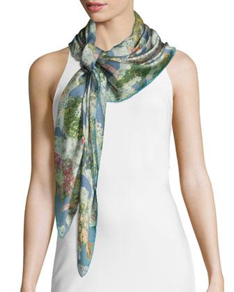 Garden Sky Silk Voile Scarf, Multicolor