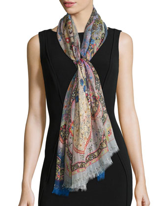 Dhely Paisley Striated Silk Scarf, Blue
