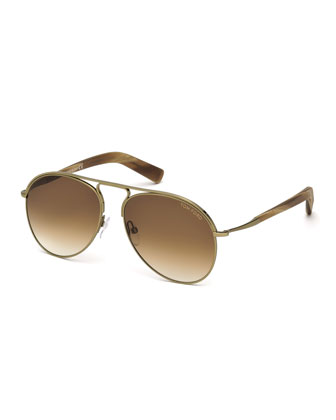 Cody Aviator Sunglasses, Light Gold