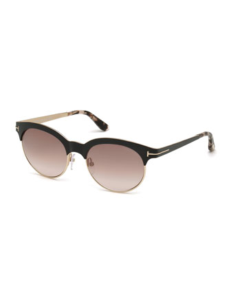 Angela Square Sunglasses, Black/Rose Gold